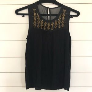 Lucky Brand Tank Black With Gold Beaded Bib